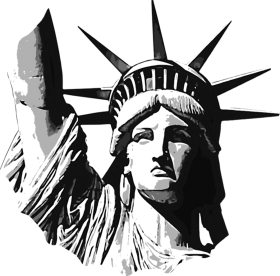 Liberty drawing illustration. Statue of electronics