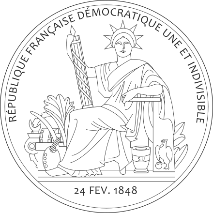Liberty drawing person. Great seal of france