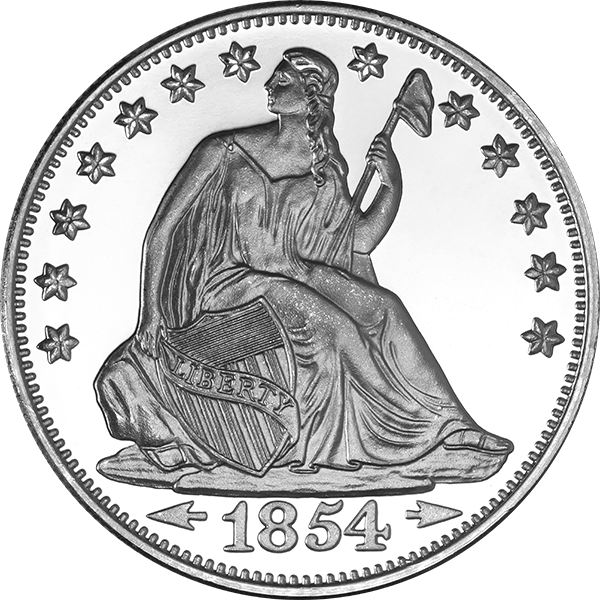 Liberty drawing money. Oz silver round
