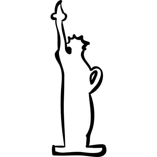 Liberty drawing outline. Statue hand drawn free