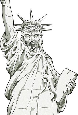 Liberty drawing person. Image statue of dw