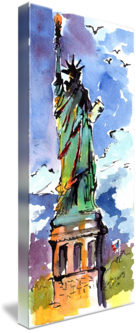 Liberty drawing watercolor. Lady new york and