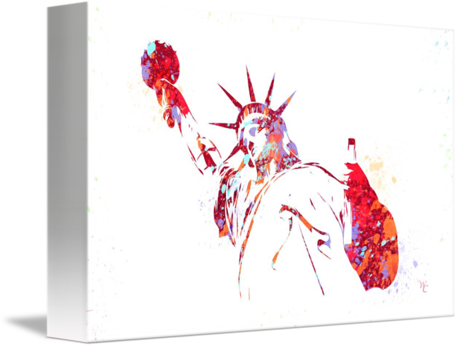 Liberty drawing watercolor. Statue of paint splatter