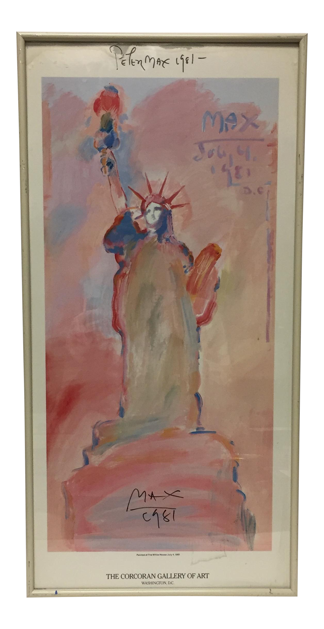 Liberty drawing watercolor. Peter max signed statue