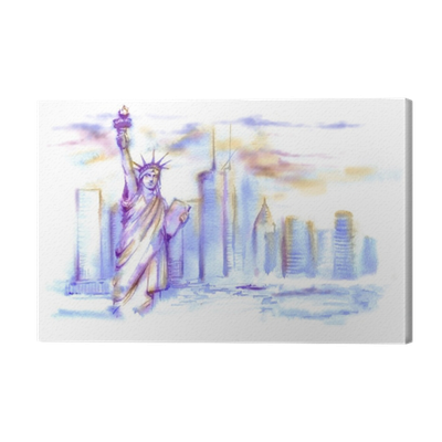 Liberty drawing watercolor. Hand drawn of the