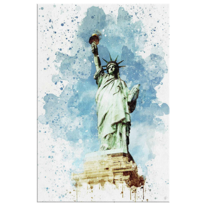 Liberty drawing watercolor. Lady in timber canvas