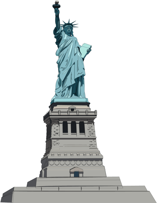 Statue of liberty illustration png. Front transparent stickpng