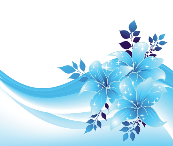 Light blue abstract background png. Decoration with flowers transparent