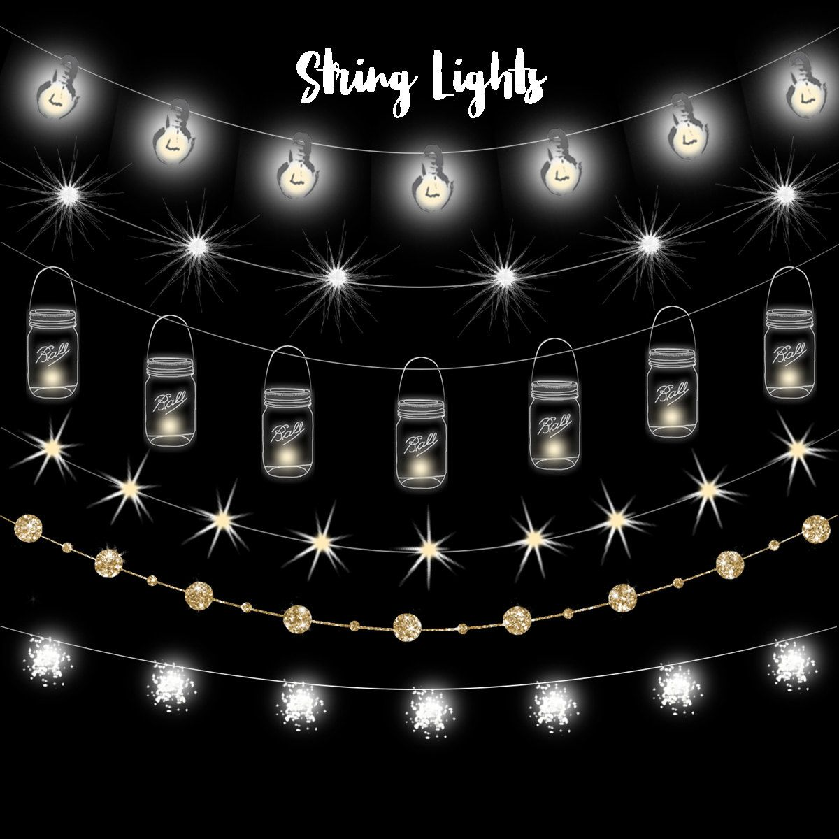 Light clipart lighting. String lights fairy party