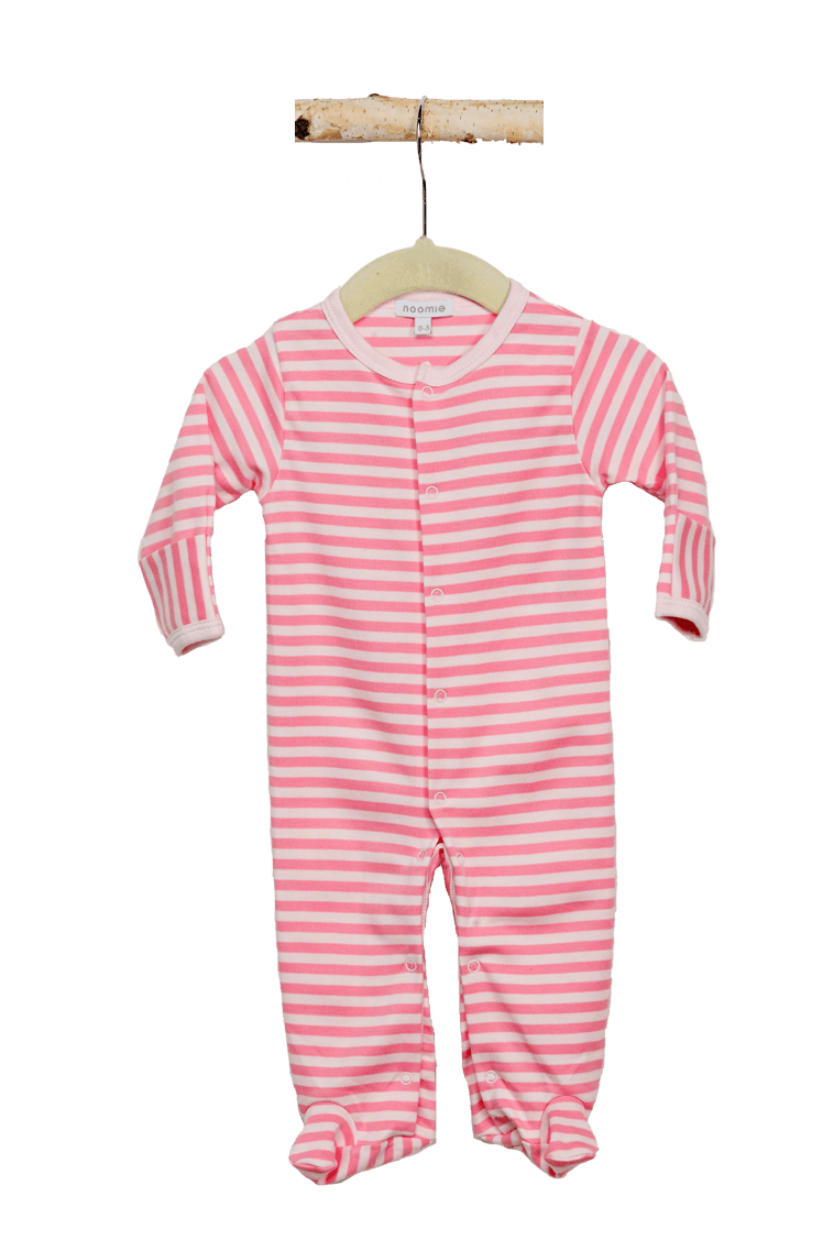 Light pink stripes png. Snap footie baby noomie