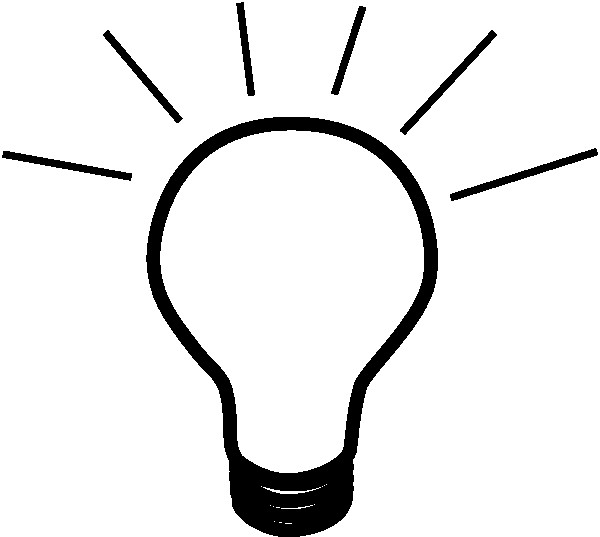 Lightbulb clipart bright light bulb. Clip art black and