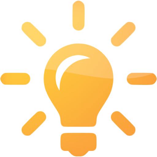 Lightbulb idea png. Orange light bulb icon