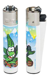 Lighter transparent clipper. Snowboarder refillable puff palace