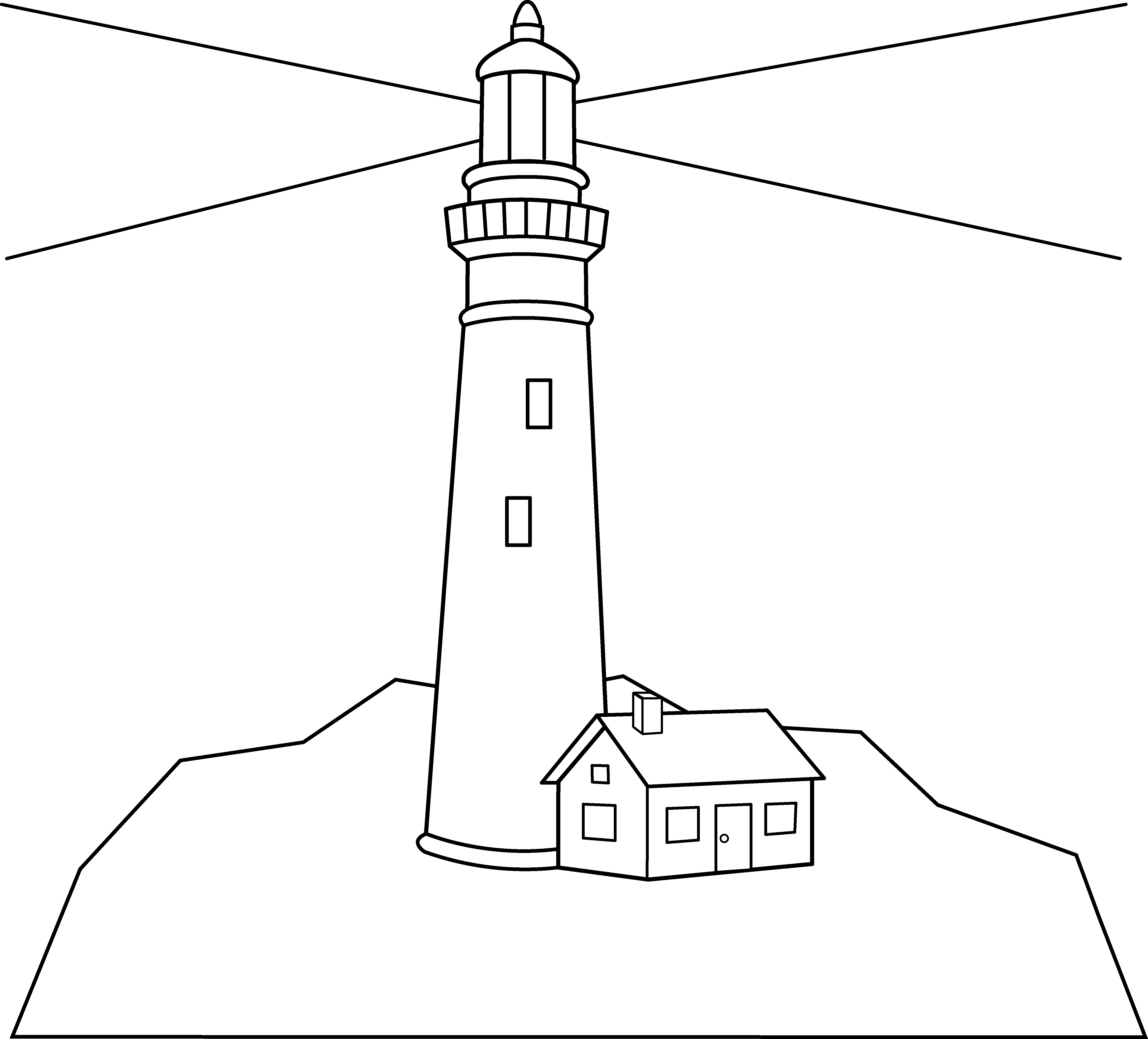 Drawing lighthouses sea. Colorable lighthouse scene free