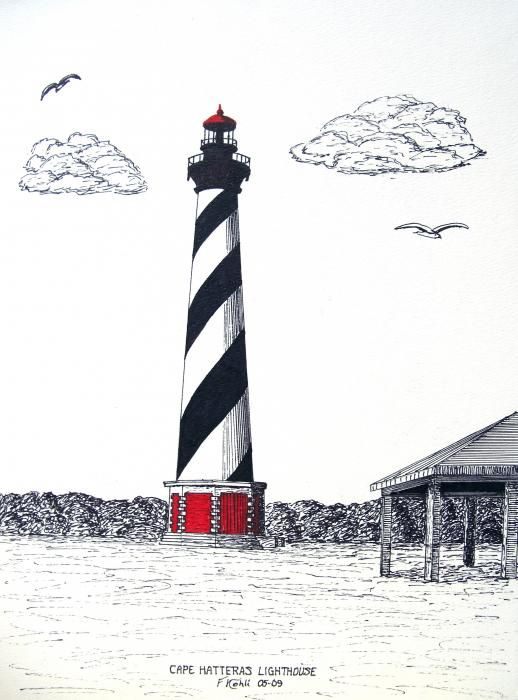 Lighthouse clipart lighthouse hatteras. Cape drawing greeting card