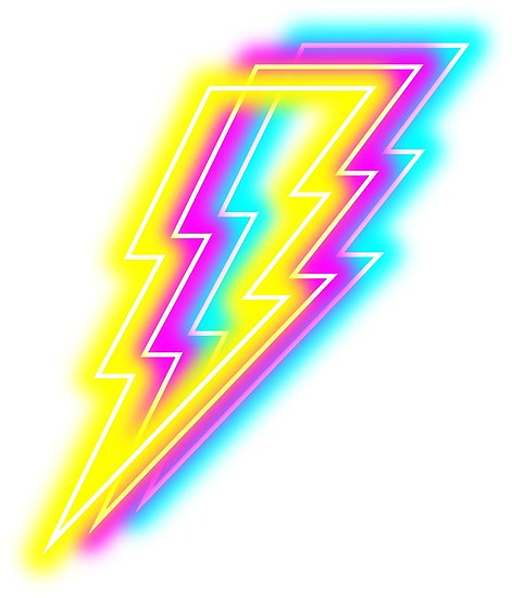 Lightning bolt png neon. Posters by cc redbubble