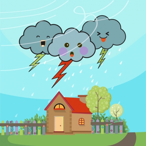 Lightning clipart stylized. Weather background cloud icons