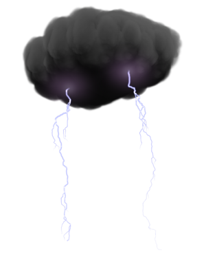 Shocking myths vs facts. Lightning clouds png graphic