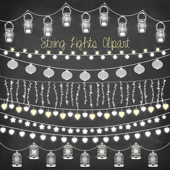 Lights clipart party light. String chalkboard with wedding