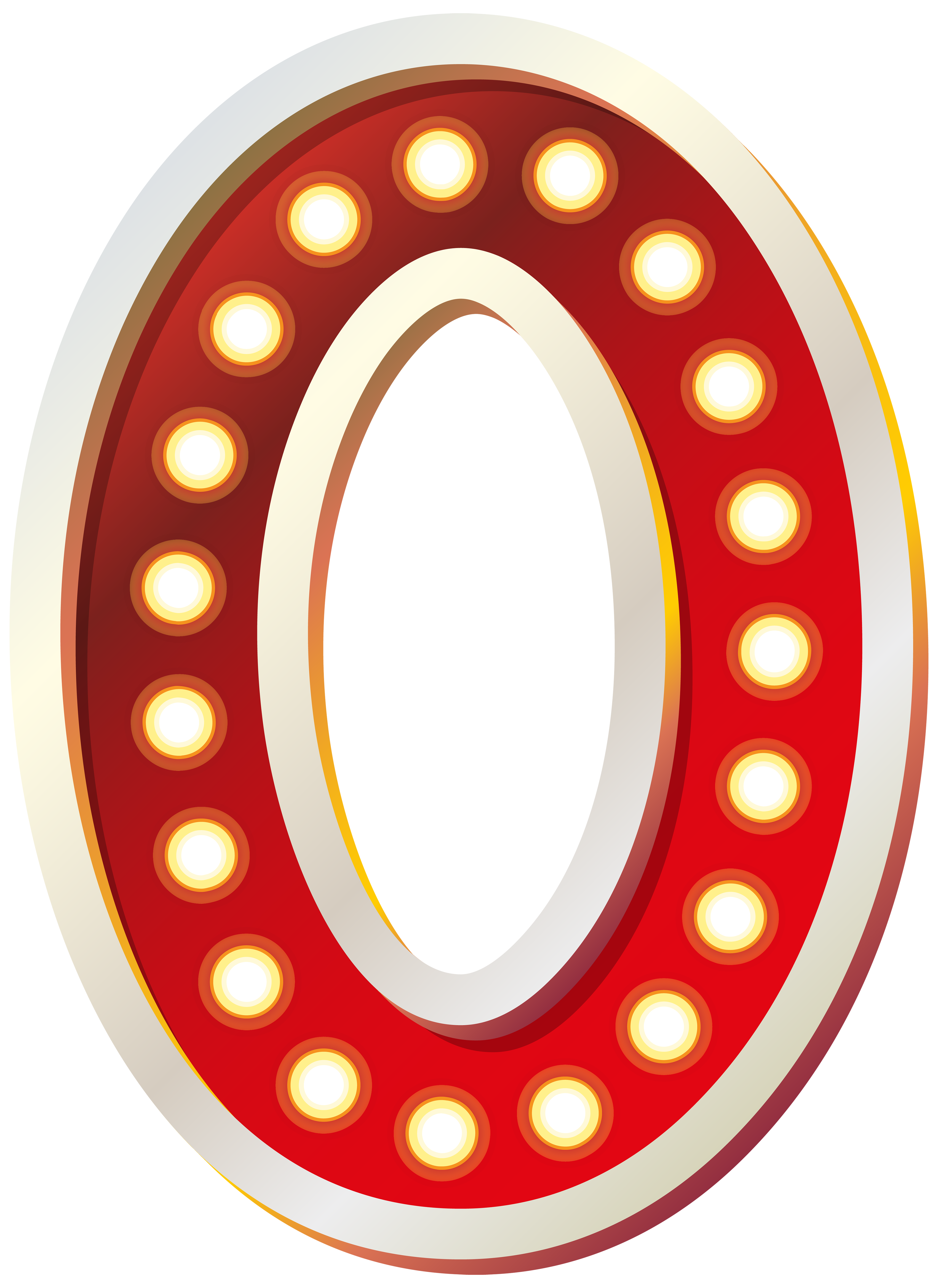 Zero transparent clipart. Red number with lights