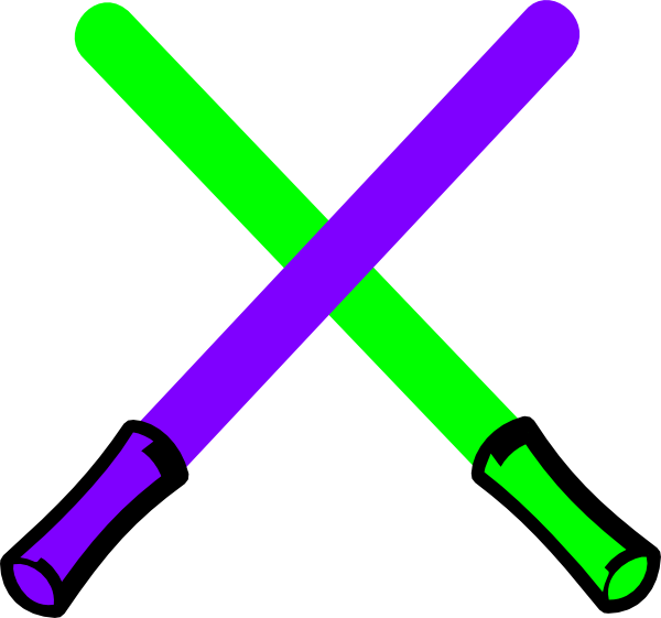 Saber vector clipart. Green and purple light
