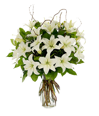 Lily transparent bouquet. Elegant with white lilies