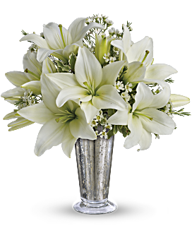 Lily transparent bouquet. White flowers in beautiful