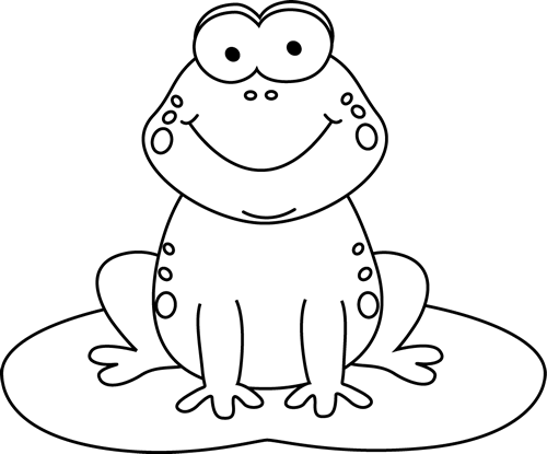 Lilypad drawing cartoon. Black and white frog