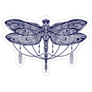 Lilypad drawing dragonfly. Car stickers decals dozens