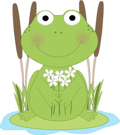 Lilypad drawing pond. Frog with flowers in
