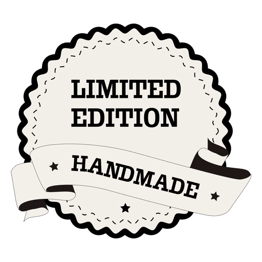 Limited edition badge png. Handmade round label transparent