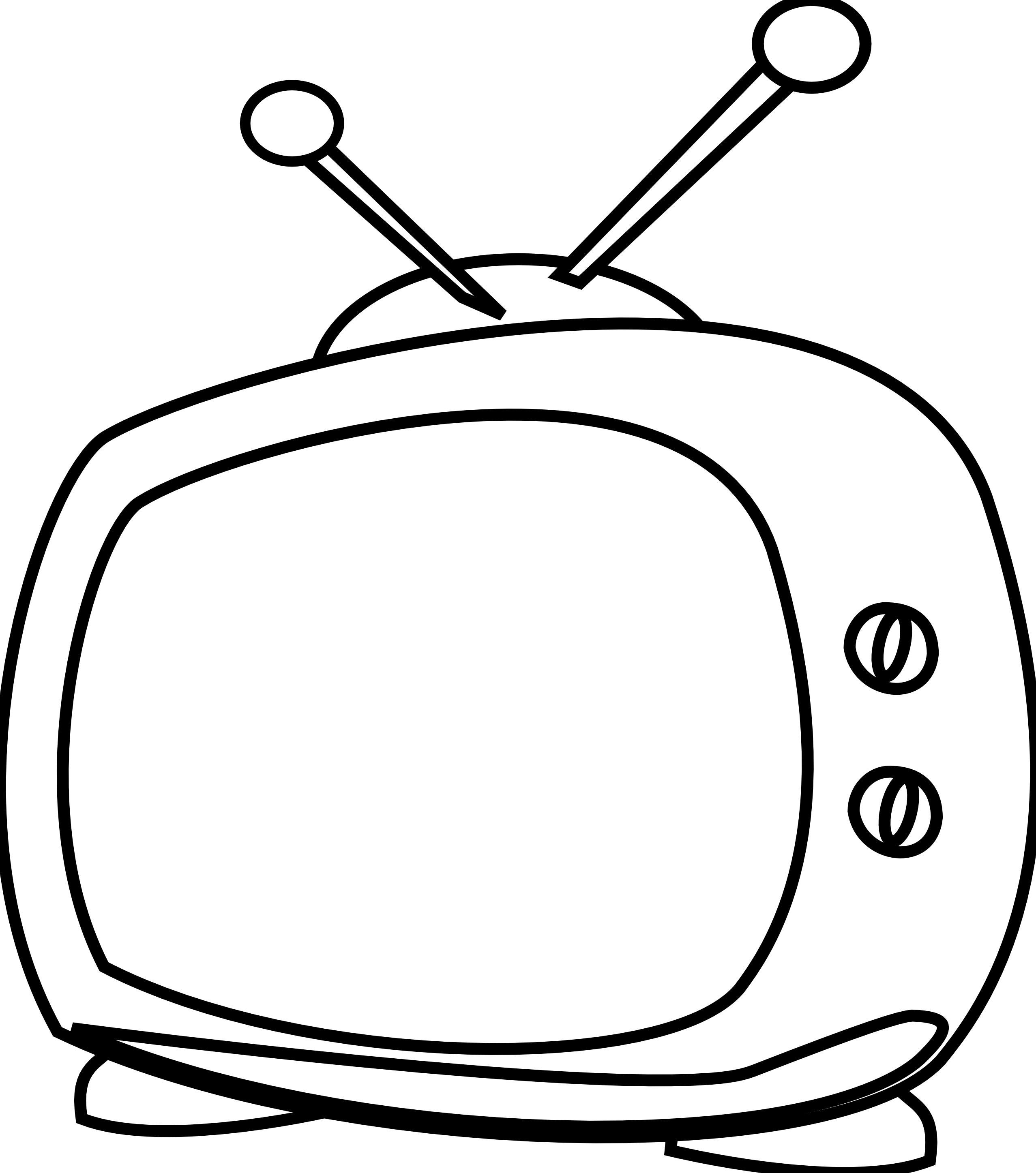 Vector television black and white. Cartoon tv line art