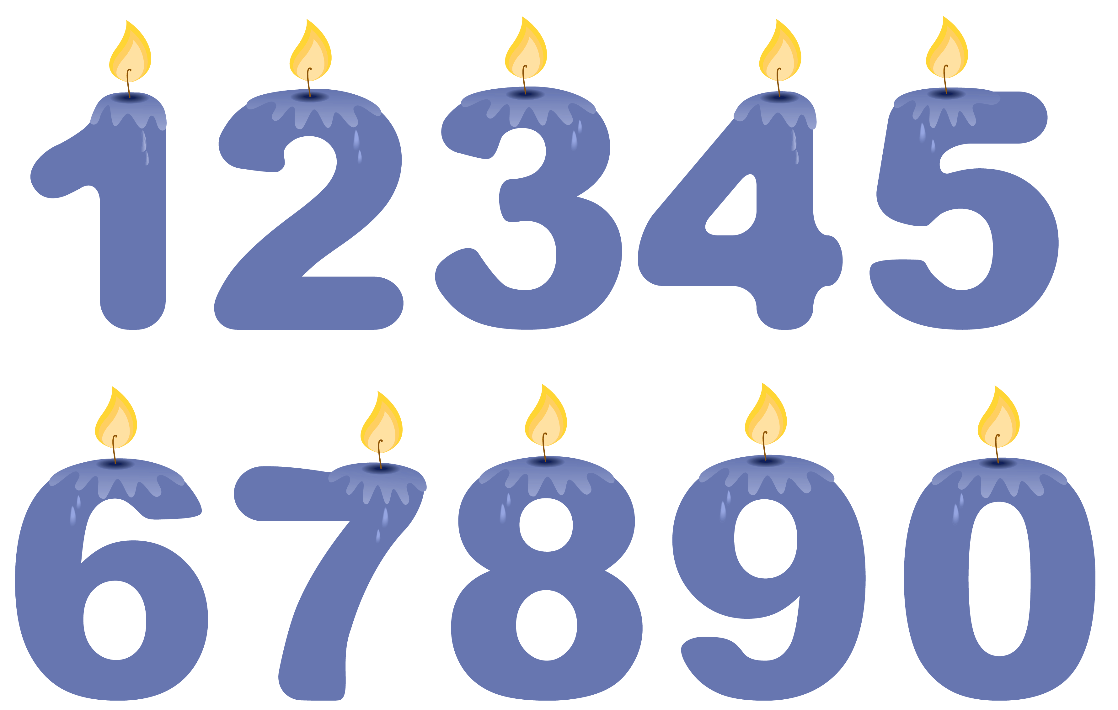 Numbers png. Transparent birthday candles blue