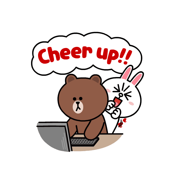 Line sticker png. Brown cony sweet love