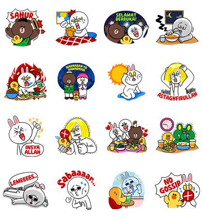 Line sticker png. The characters welcome ramadhan