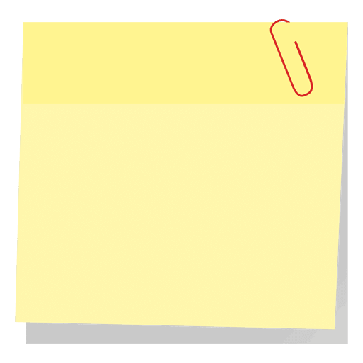 Note paper with paperclip png. Yellow sticky transparent svg