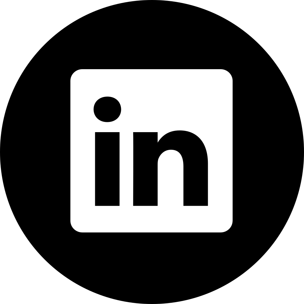 Linkedin logo black and white png. Button svg icon free