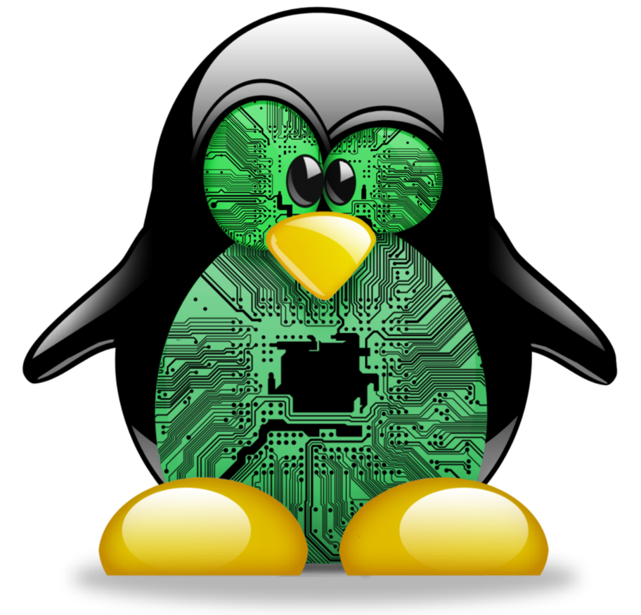 Linux penguin png. Circuit board avatar by