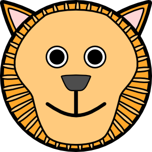 Lion clip face. Rounded art at clker