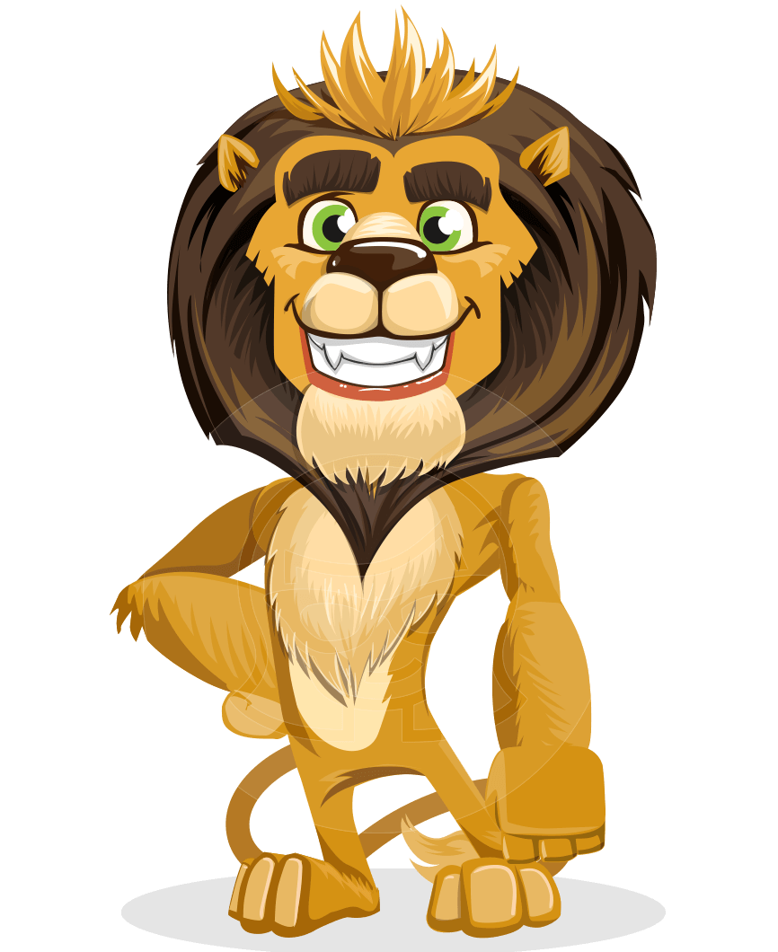 Lions vector animated. Cartoon character lion illustration