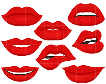 Lip clipart. Red lips etsy luscious