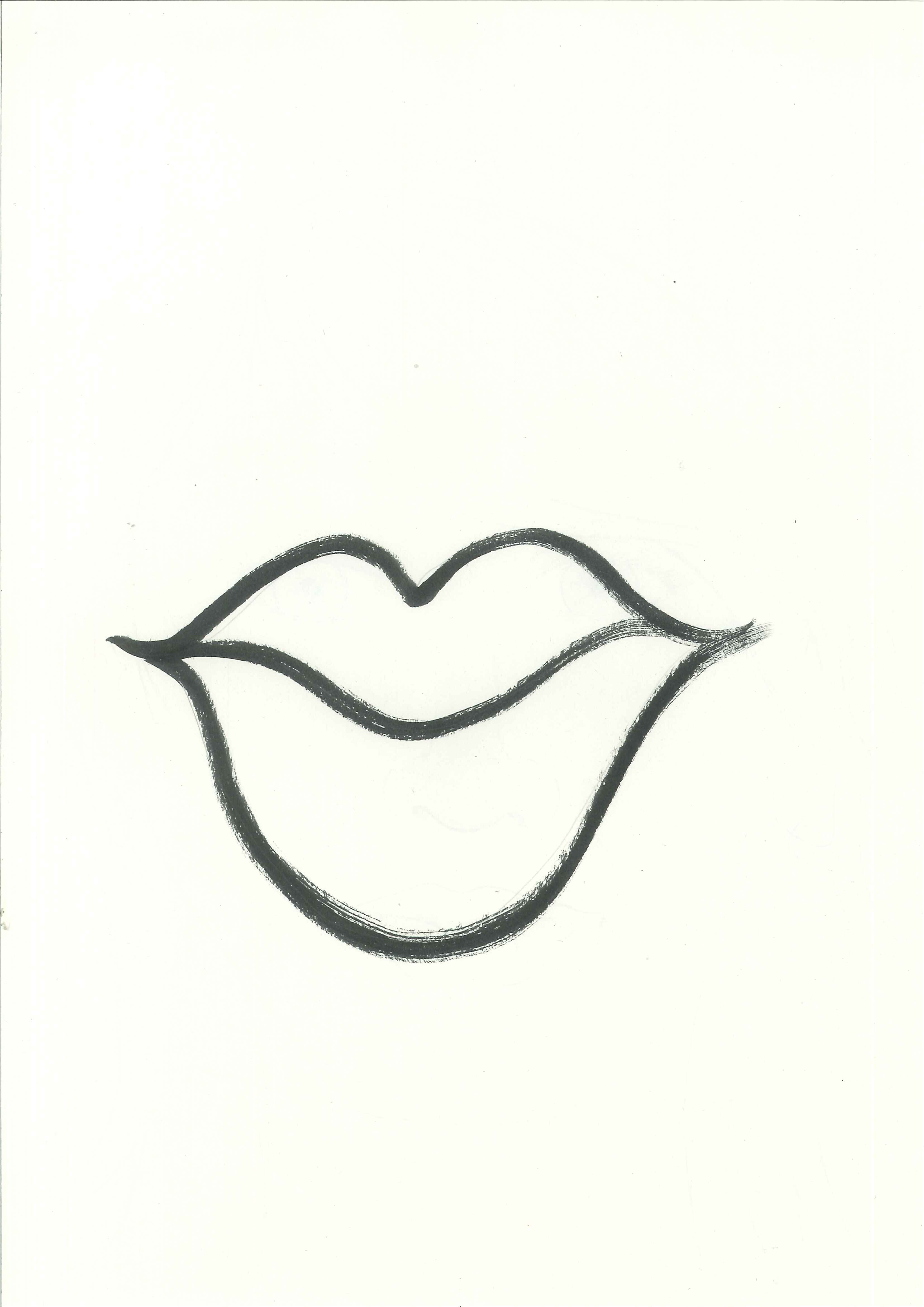 Lips clipart blank. Lip black and white