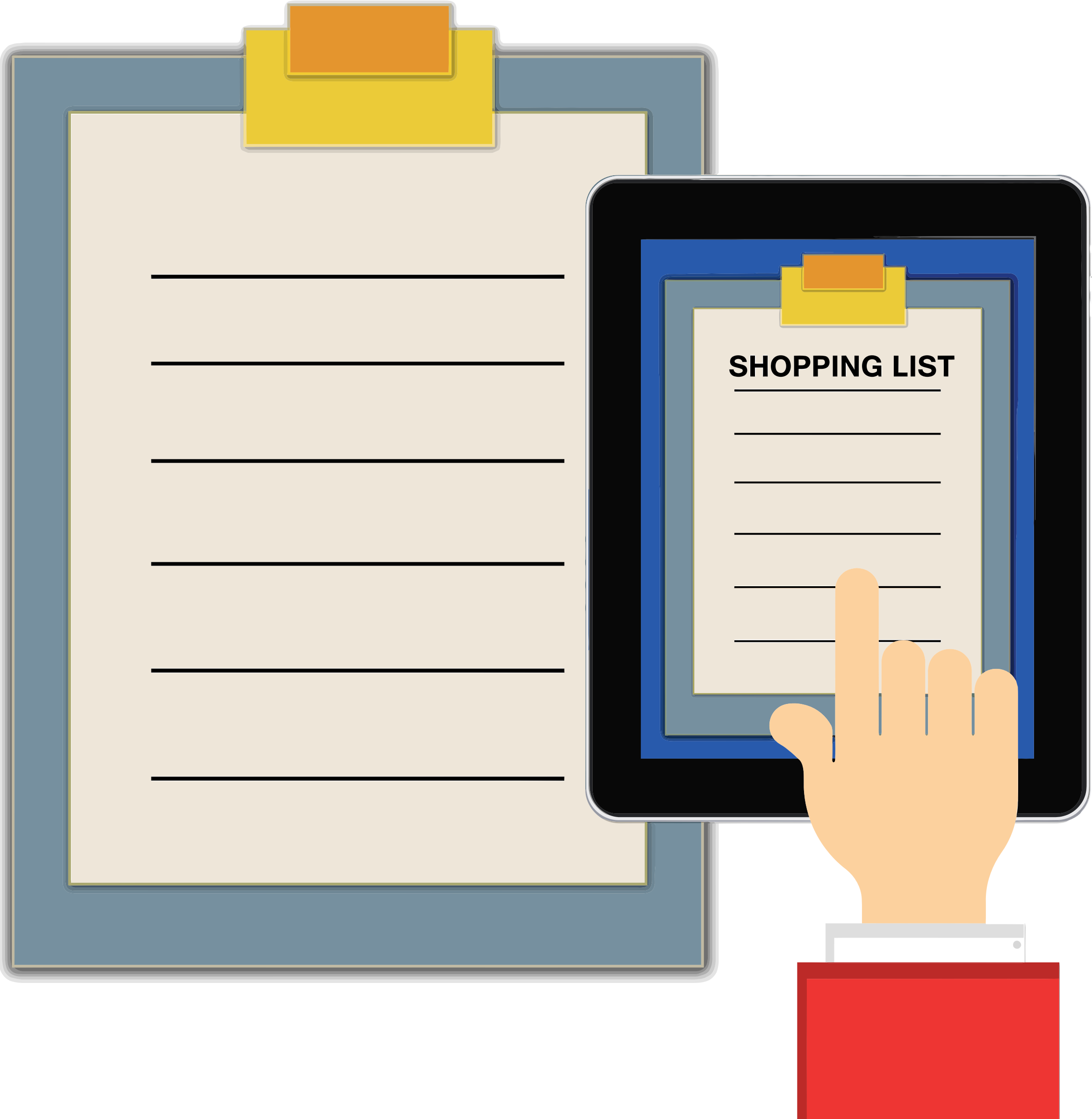 Transparent clipboard big. Clipart shopping list tablet