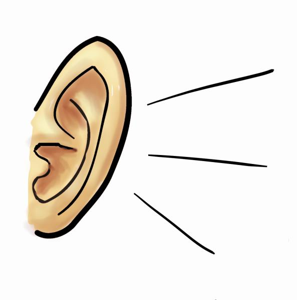 Listen clipart cartoon. Listening ears clip art