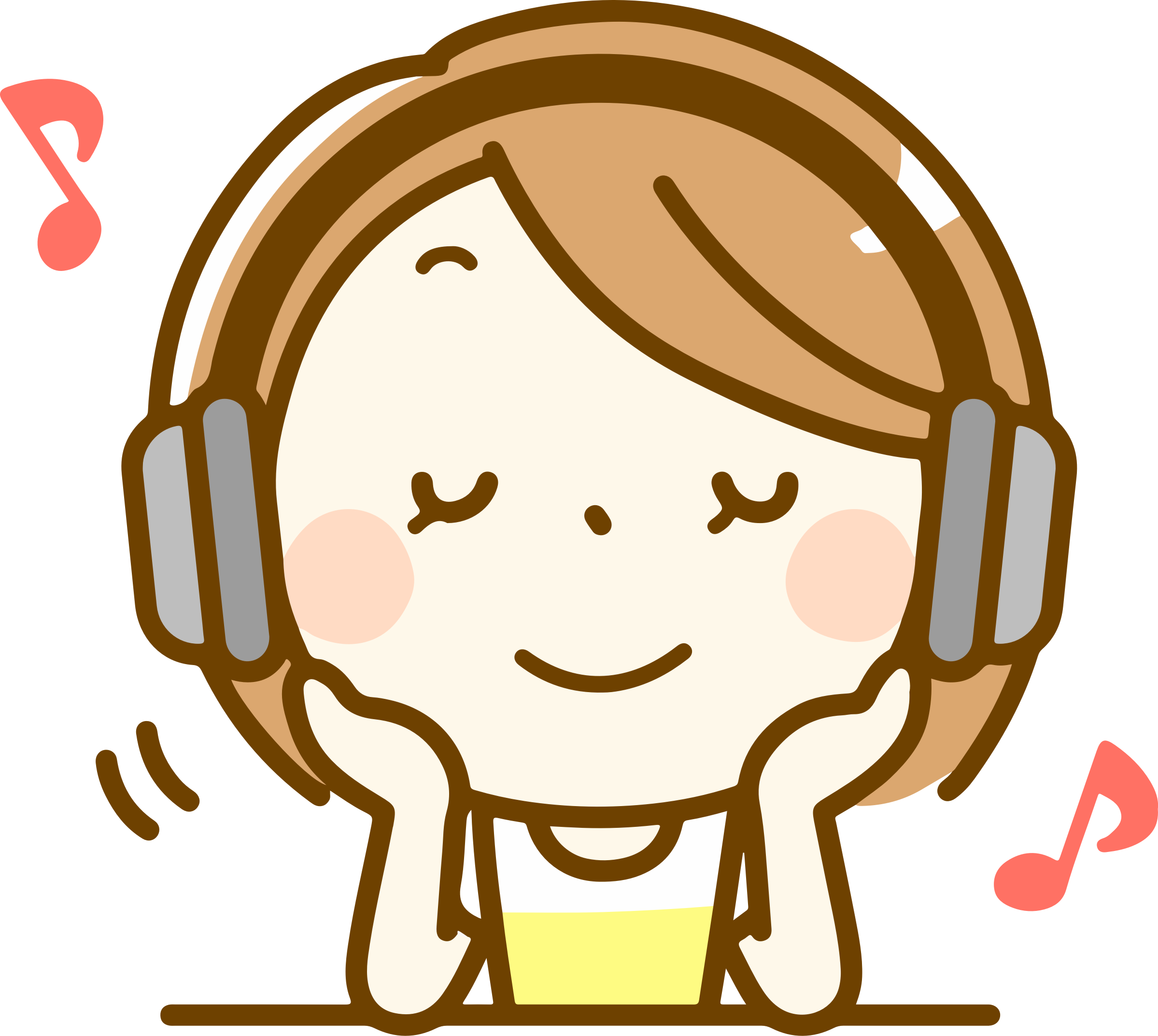 Listening clipart. Woman to music big