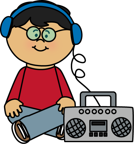 Boombox clipart old fashioned. Kid listening to clip