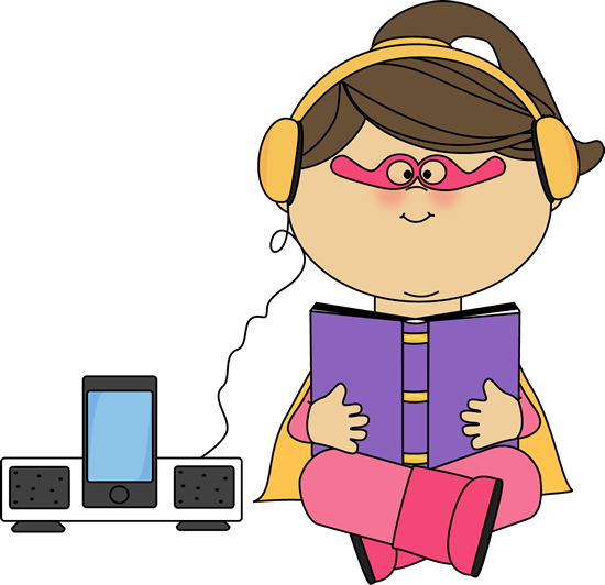 Listening clipart girl. Superhero to a book