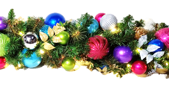 Lit garland png. Jewel tone decorated ft