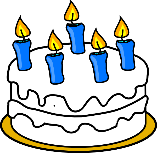 Cake With Blue Lit 5 Birthday Candle Png Transparent