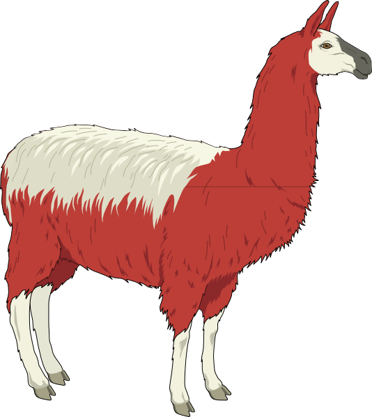 Llama animal vector png. Red and white clip